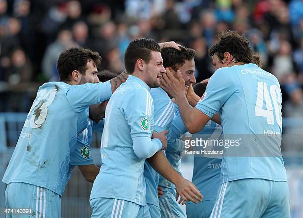 Anton Fink of Chemnitz celebrates with teammates the opening goal during the third Liga match between Chemnitzer FC and SV Darmstadt 98 at Stadium an...