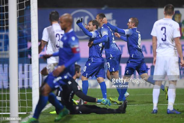 Anton Fink of Karlsruhe celebrates his team's first goal during the Second Bundesliga match between Karlsruher SC and FC Erzgebirge Aue at...