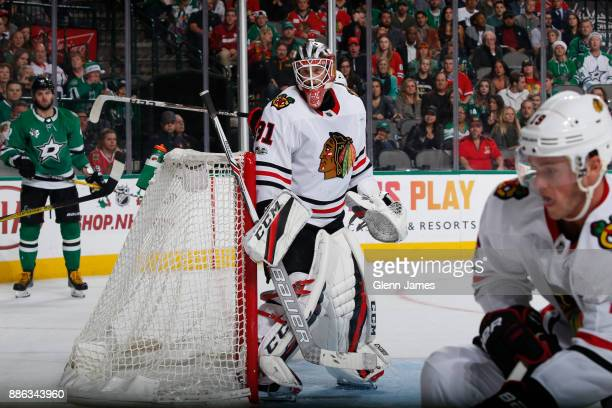 Anton Forsberg of the Chicago Blackhawks tends goal against the Dallas Stars at the American Airlines Center on December 2 2017 in Dallas Texas