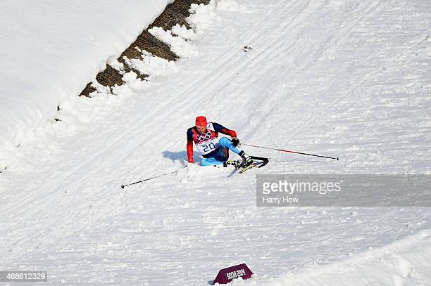 Anton Gafarov of Russia collapses in the Finals of the Men's Sprint Free during day four of the Sochi 2014 Winter Olympics at Laura Crosscountry Ski...