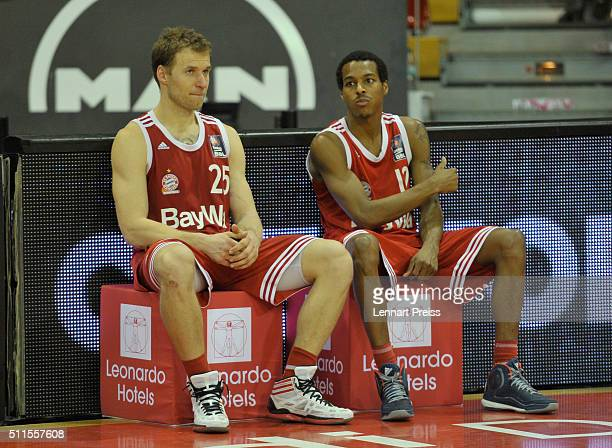 Anton Gavel and Alex Renfroe of FC Bayern Muenchen look on after losing the Beko BBL TOP FOUR Final match between FC Bayern Muenchen and ALBA Berlin...