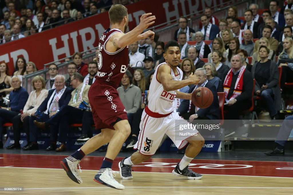 Anton Gavel of Bayern Muenchen vies Maodo Loe of Brose Baskets Bamberg during the Quarterfinal match in the BBL Pokal 2017/18 between FC Bayern Basketball and Brose Baskets Bamberg at the Audi Dome on January 21,2018.