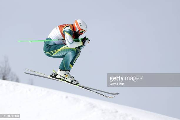 Anton Grimus of Australia competes in the Freestyle Skiing Men's Ski Cross Seeding on day 12 of the PyeongChang 2018 Winter Olympic Games at Phoenix...