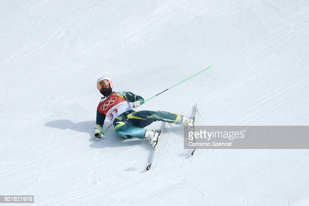 Anton Grimus of Australia crashes in the Freestyle Skiing Men's Ski Cross Seeding on day 12 of the PyeongChang 2018 Winter Olympic Games at Phoenix...