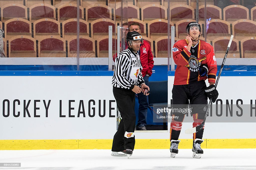 Anton Hedman #25 of Lulea Hockey gets 5min penalty for checking to the head during the Champions Hockey League match between Lulea Hockey and SaiPa Lappeenranta at Coop Norrbotten Arena on August 23, 2016 in Lulea, Sweden.