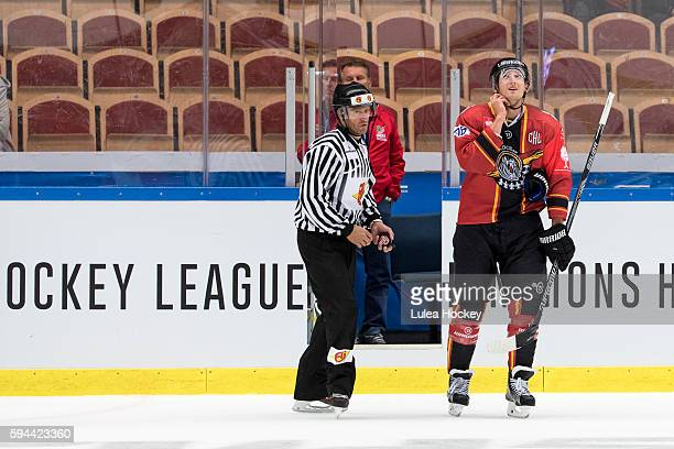Anton Hedman of Lulea Hockey gets 5min penalty for checking to the head during the Champions Hockey League match between Lulea Hockey and SaiPa...