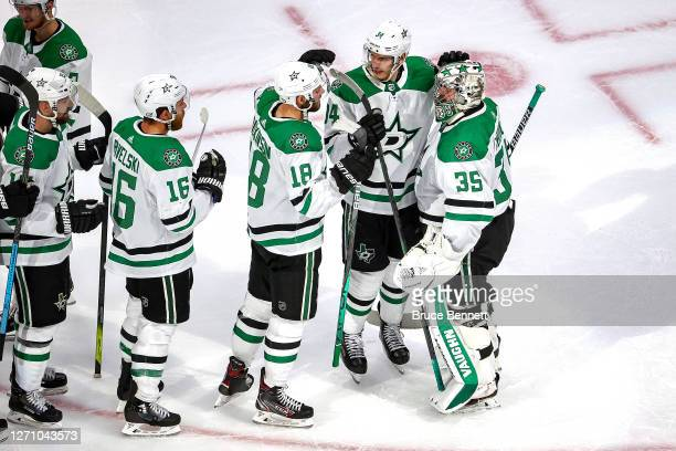Anton Khudobin and the Dallas Stars celebrate their 10 shutout victory against the Vegas Golden Knights in Game One of the Western Conference Final...