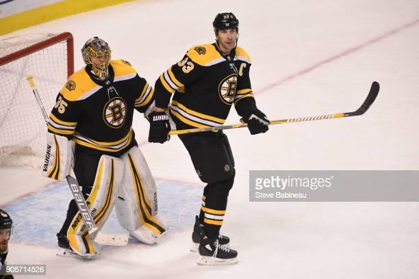 Anton Khudobin and Zdeno Chara of the Boston Bruins against the Dallas Stars at the TD Garden on January 15 2018 in Boston Massachusetts