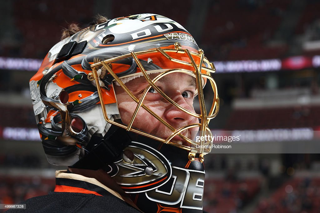 Anton Khudobin #30 of the Anaheim Ducks skates in warm-ups prior to the game against the San Jose Sharks on December 4, 2015 at Honda Center in Anaheim, California.