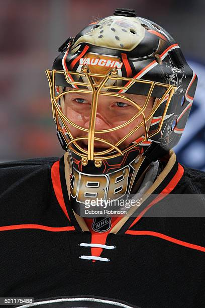 Anton Khudobin of the Anaheim Ducks skates in warmups prior to the game against the Winnipeg Jets on April 5 2016 at Honda Center in Anaheim...