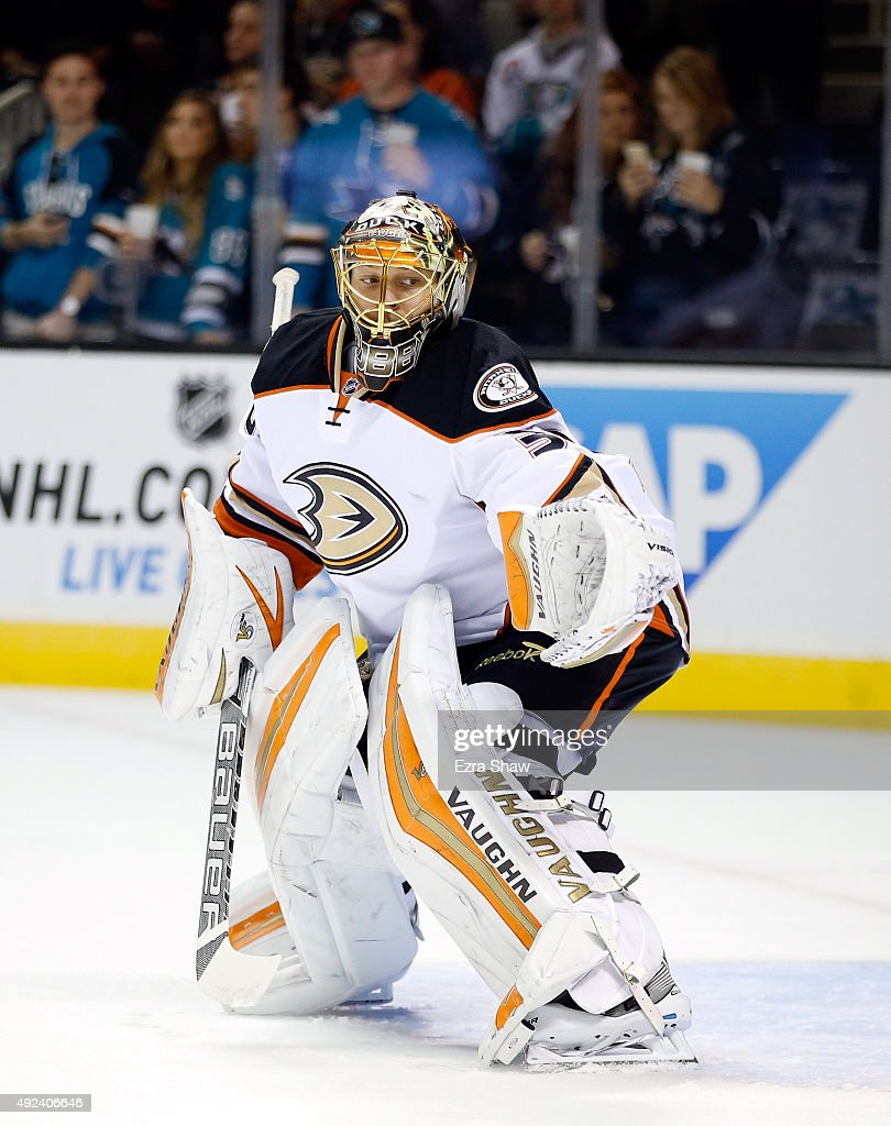 Anton Khudobin #30 of the Anaheim Ducks warms up before their game against the San Jose Sharks at SAP Center on October 10, 2015 in San Jose, California.