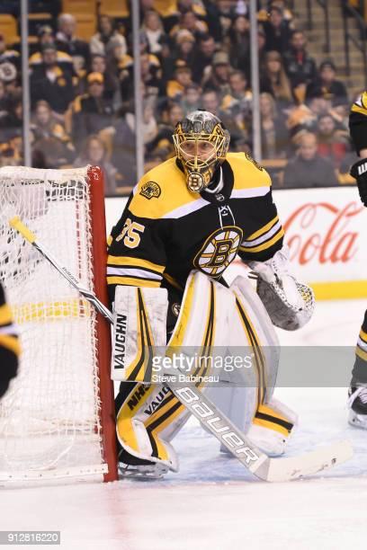 Anton Khudobin of the Boston Bruins against the Anaheim Ducks at the TD Garden on January 30 2018 in Boston Massachusetts
