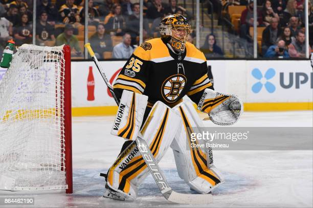 Anton Khudobin of the Boston Bruins against the Vancouver Canucks at the TD Garden on October 19 2017 in Boston Massachusetts