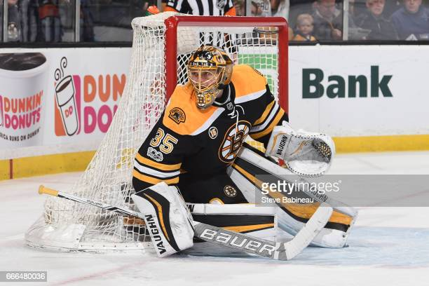 Anton Khudobin of the Boston Bruins against the Washington Capitals at the TD Garden on April 8 2017 in Boston Massachusetts