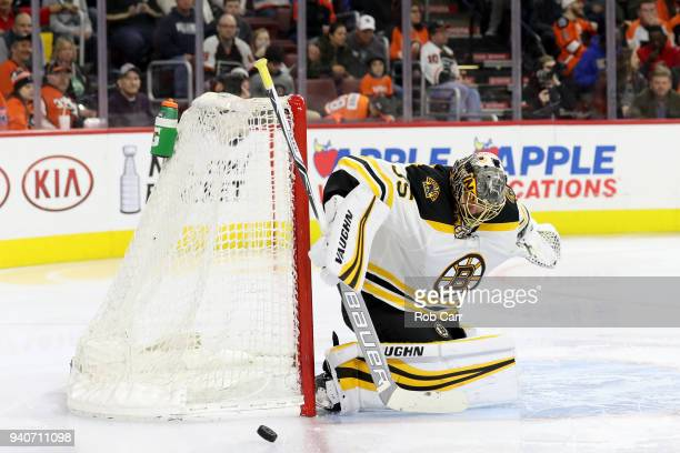 Anton Khudobin of the Boston Bruins blocks a shot in the second period against the Philadelphia Flyers at Wells Fargo Center on April 1 2018 in...