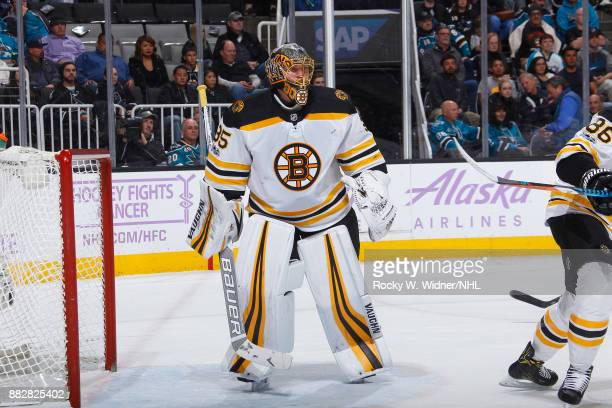 Anton Khudobin of the Boston Bruins defends the net against the San Jose Sharks at SAP Center on November 18 2017 in San Jose California