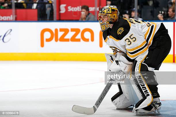 Anton Khudobin of the Boston Bruins during an NHL game against the Toronto Maple Leafs during the second period at the Air Canada Centre on October...