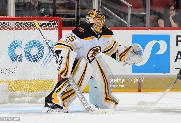Anton Khudobin of the Boston Bruins gets ready to make a save against the Arizona Coyotes at Gila River Arena on October 14 2017 in Glendale Arizona