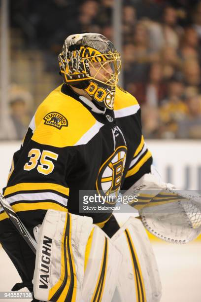 Anton Khudobin of the Boston Bruins in the net against the Ottawa Senators at the TD Garden on April 7 2018 in Boston Massachusetts Anton Khudobin