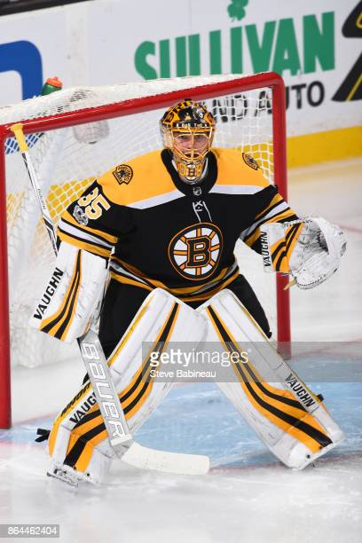 Anton Khudobin of the Boston Bruins in the net for the third period against the Vancouver Canucks at the TD Garden on October 19 2017 in Boston...