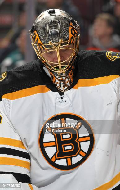 Anton Khudobin of the Boston Bruins looks down against the Philadelphia Flyers on April 1 2018 at the Wells Fargo Center in Philadelphia Pennsylvania