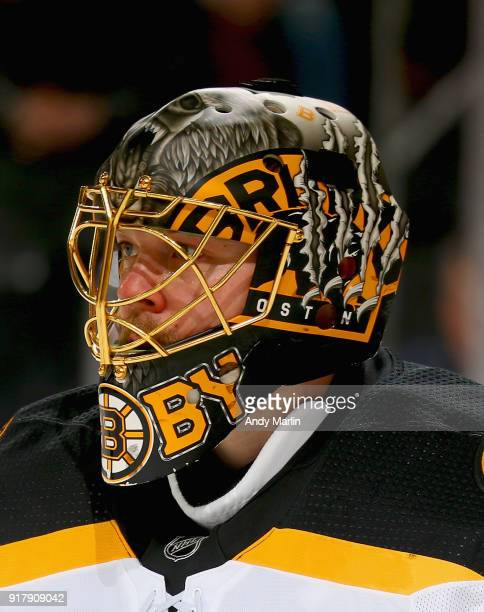 Anton Khudobin of the Boston Bruins looks on against the New Jersey Devils during the game at Prudential Center on February 11 2018 in Newark New...