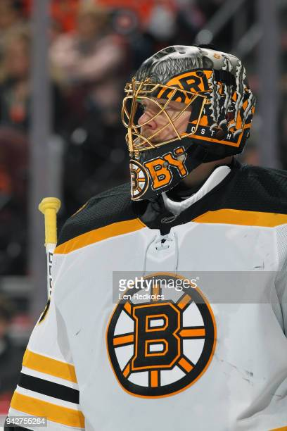Anton Khudobin of the Boston Bruins looks on against the Philadelphia Flyers on April 1 2018 at the Wells Fargo Center in Philadelphia Pennsylvania