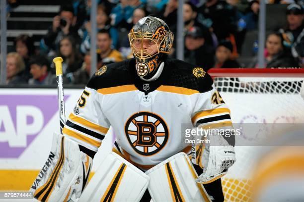 Anton Khudobin of the Boston Bruins looks on during a NHL game against the San Jose Sharks at SAP Center on November 18 2017 in San Jose California