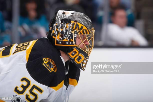Anton Khudobin of the Boston Bruins looks on during the game against the San Jose Sharks at SAP Center on November 18 2017 in San Jose California