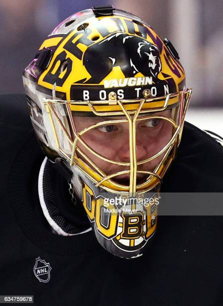 Anton Khudobin of the Boston Bruins looks on during the second period against the Vancouver Canucks at TD Garden on February 11 2017 in Boston...