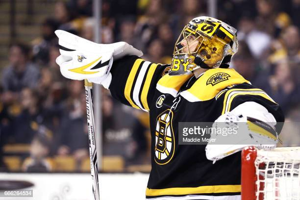 Anton Khudobin of the Boston Bruins looks on during the second period against the Washington Capitals at TD Garden on April 8 2017 in Boston...