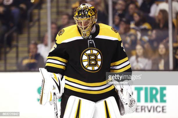 Anton Khudobin of the Boston Bruins looks on during the second period against the Vancouver Canucks at TD Garden on October 19 2017 in Boston...
