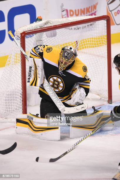 Anton Khudobin of the Boston Bruins makes a save against the Pittsburgh Penguins at the TD Garden on November 24 2017 in Boston Massachusetts