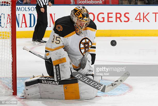 Anton Khudobin of the Boston Bruins makes a save against the Toronto Maple Leafs during the third period at the Air Canada Centre on October 15 2016...