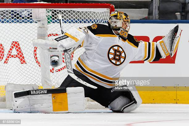 Anton Khudobin of the Boston Bruins makes a save against the Toronto Maple Leafs during the second period at the Air Canada Centre on October 15 2016...