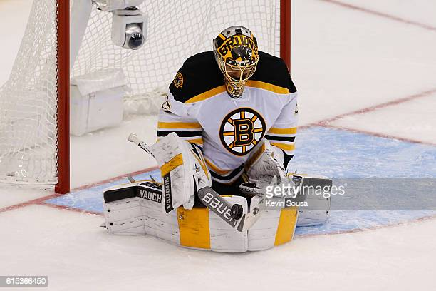 Anton Khudobin of the Boston Bruins makes a save against Toronto Maple Leafs during the first period at the Air Canada Centre on October 15 2016 in...