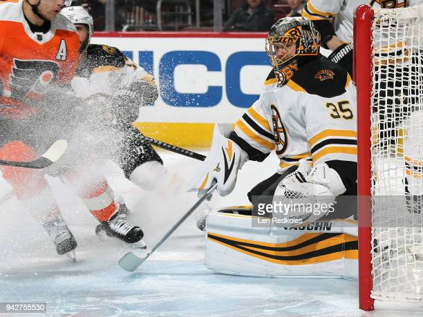 Anton Khudobin of the Boston Bruins prepares to stop a shot on goal against the Philadelphia Flyers on April 1 2018 at the Wells Fargo Center in...