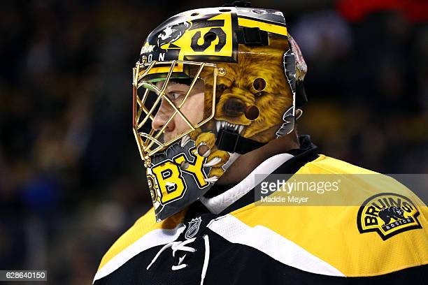 Anton Khudobin of the Boston Bruins reacts after a goal is scored against him during the second period at TD Garden on December 8 2016 in Boston...