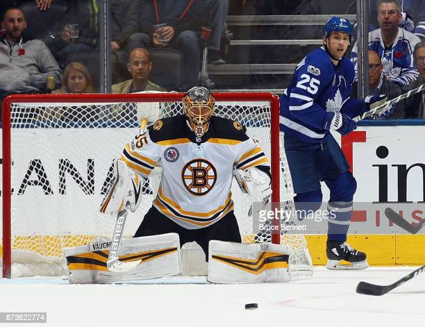 Anton Khudobin of the Boston Bruins skates against the Toronto Maple Leafs at the Air Canada Centre on November 10 2017 in Toronto Canada The Maple...