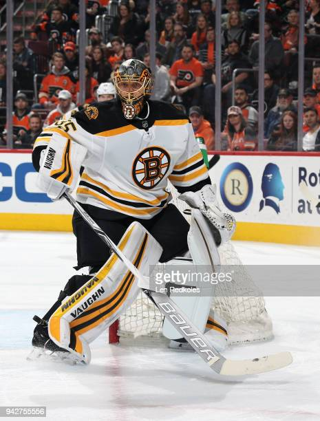 Anton Khudobin of the Boston Bruins skates alongside the net against the Philadelphia Flyers on April 1 2018 at the Wells Fargo Center in...