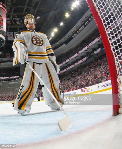 Anton Khudobin of the Boston Bruins skates towards his net during a stoppage in play against the Philadelphia Flyers on April 1 2018 at the Wells...