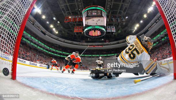 Anton Khudobin of the Boston Bruins surrenders a first period goal to Claude Giroux of the Philadelphia Flyers on April 1 2018 at the Wells Fargo...