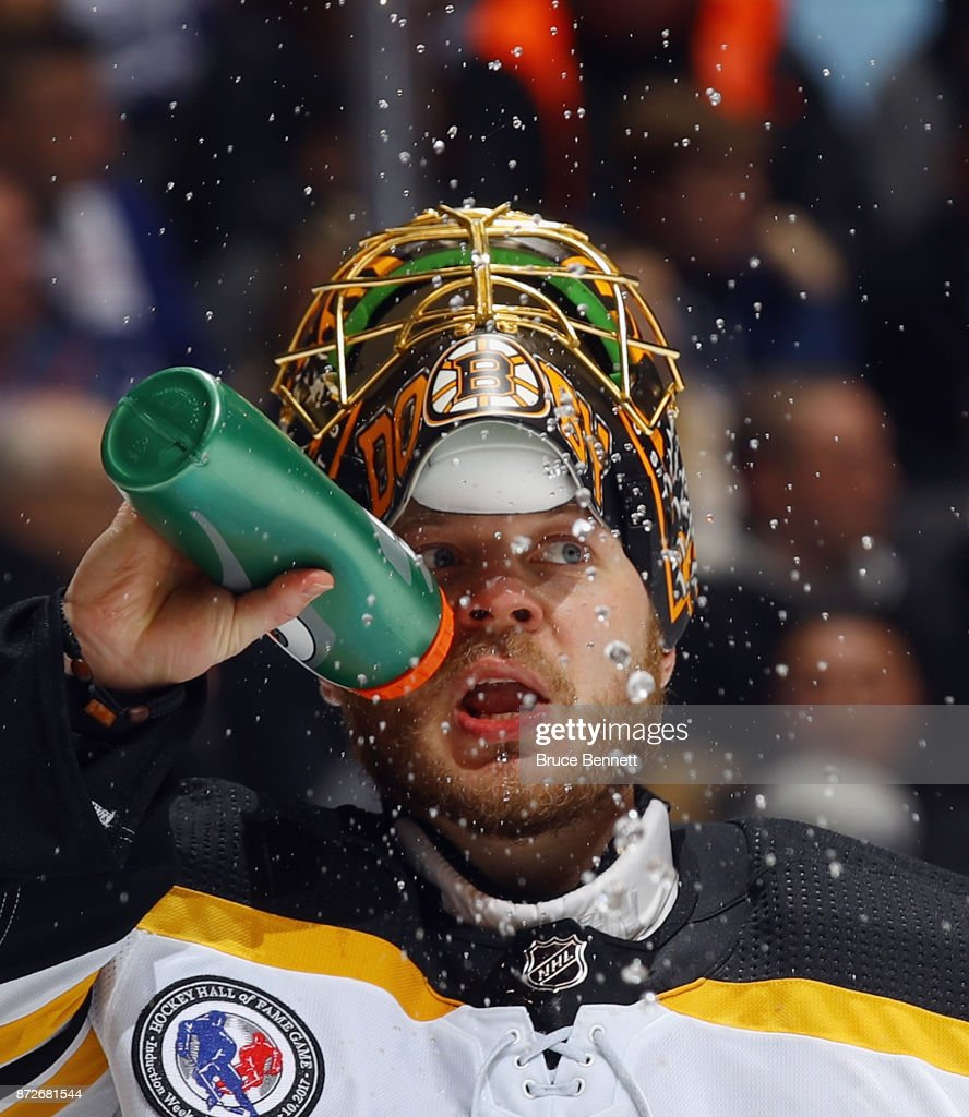 Anton Khudobin #35 of the Boston Bruins takes a second period water break during the game against the Toronto Maple Leafs at the Air Canada Centre on November 10, 2017 in Toronto, Canada.