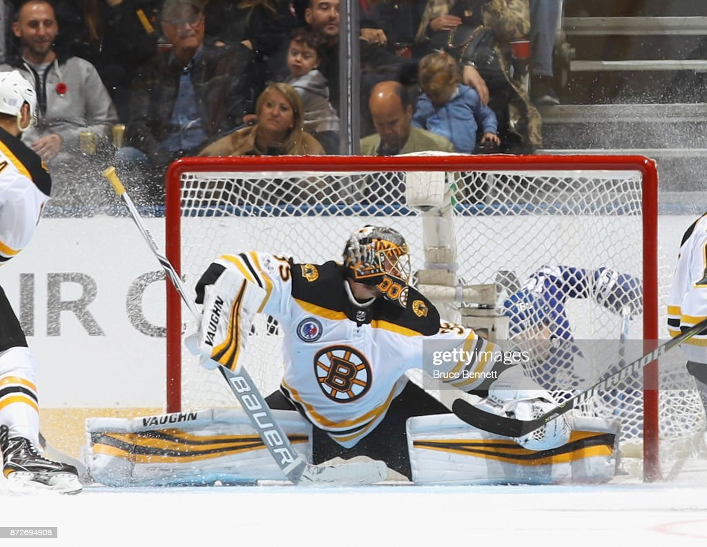 Anton Khudobin #35 of the Boston Bruins tends net against the Toronto Maple Leafs at the Air Canada Centre on November 10, 2017 in Toronto, Canada. The Leafs defeated the Bruins 3-2 in overtime.
