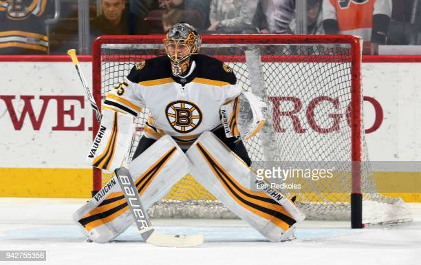 Anton Khudobin of the Boston Bruins warms up against the Philadelphia Flyers on April 1 2018 at the Wells Fargo Center in Philadelphia Pennsylvania