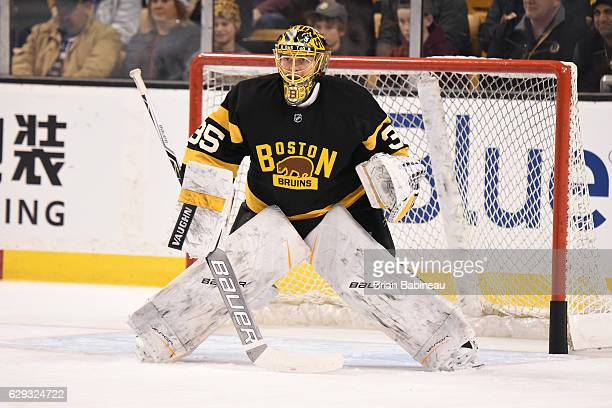 Anton Khudobin of the Boston Bruins warms up against the Toronto Maple Leafs at the TD Garden on December 10 2016 in Boston Massachusetts