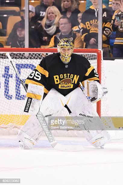 Anton Khudobin of the Boston Bruins warms up before the game against the Calgary Flames at the TD Garden on November 25 2016 in Boston Massachusetts