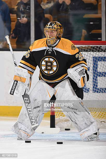 Anton Khudobin of the Boston Bruins warms up before the game against the Carolina Hurricanes at the TD Garden on December 1 2016 in Boston...