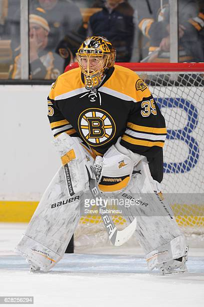 Anton Khudobin of the Boston Bruins warms up before the game against the Florida Panthers at the TD Garden on December 5 2016 in Boston Massachusetts