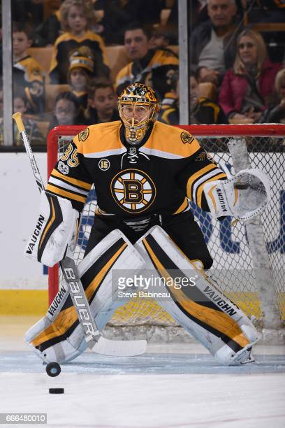 Anton Khudobin of the Boston Bruins warms up before the game against the Washington Capitals at the TD Garden on April 8 2017 in Boston Massachusetts